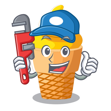 Plumber banana ice cream in cone character vector illustration