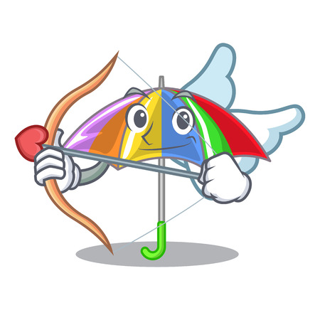 Cupid rainbow umbrella in shape a cartoon vector illustration