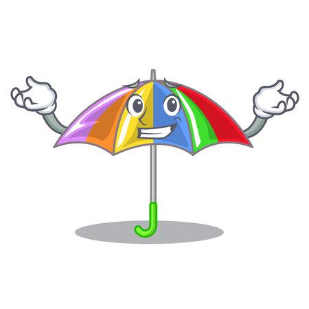 Grinning rainbow umbrella isolated on a mascot vector illustration
