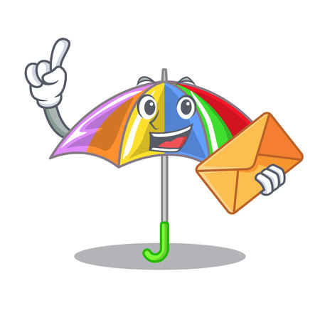 With envelope rainbow umbrella isolated on a mascot vector illustration Vectores