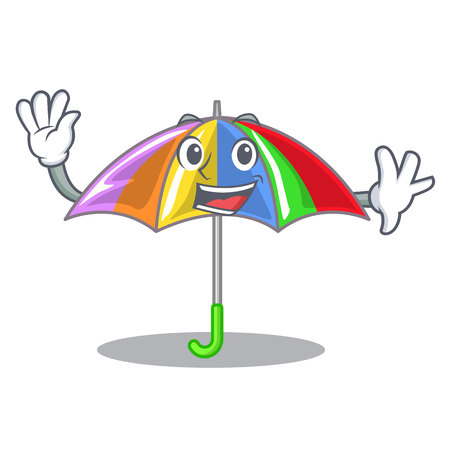 Waving rainbow umbrella isolated on a mascot vector illustration