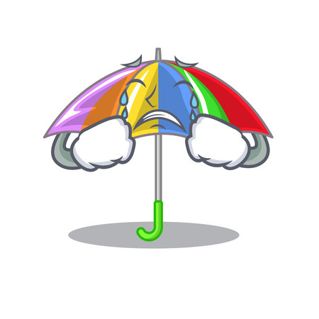 Crying rainbow umbrella in chracter that fun vector illustration