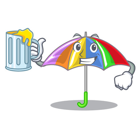 With juice rainbow umbrella in chracter that fun vector illustration