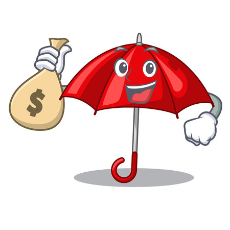 With money bag umbrella red in a character beautiful vector illustration Stock Illustratie