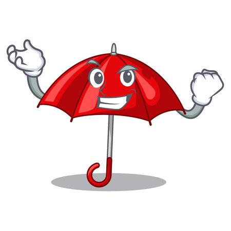 Successful red umbrellas isolated in a mascot vector illustration Stock Illustratie