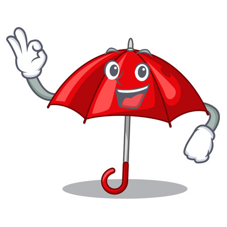 Okay red umbrellas isolated in a mascot vector illustration