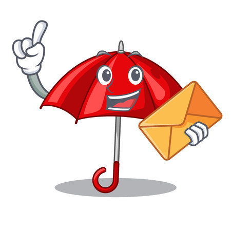 With envelope red umbrellas isolated in a mascot vector illustration Illustration