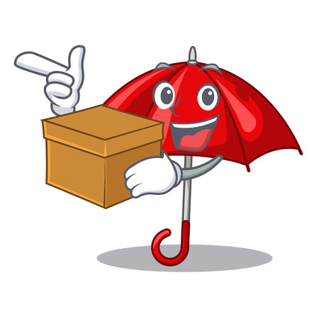 With box red umbrellas isolated in a mascot vector illustration Stock Illustratie