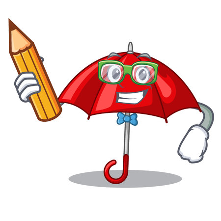 Student red umbrellas isolated in a mascot vector illustration Banque d'images - 126815639