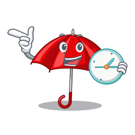 With clock red umbrellas isolated in a mascot vector illustration