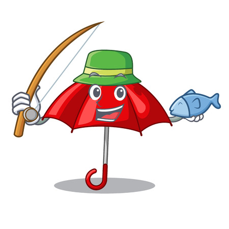 Fishing red umbrella lit up cartoon shape Illustration
