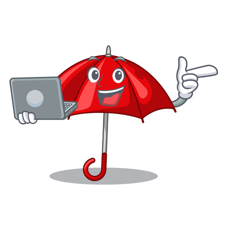 With laptop umbrella red in a character beautiful vector illustration