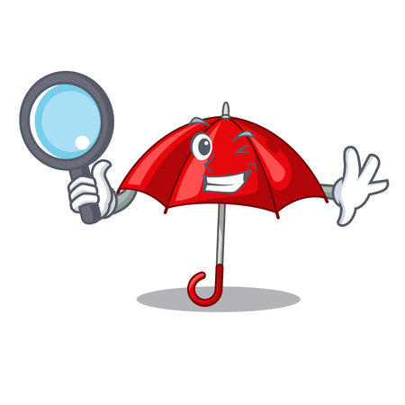 Detective red umbrellas isolated in a mascot Banque d'images - 113887232
