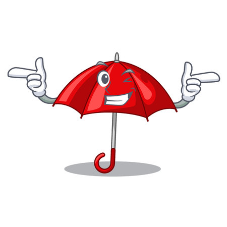 Wink red umbrellas isolated in a mascot vector illustration Banque d'images - 126815663