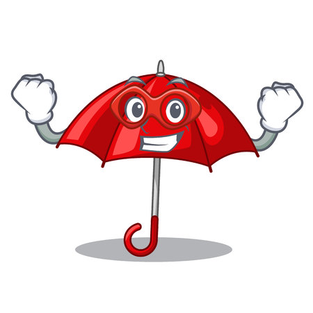 Super hero red umbrellas isolated in a mascot Banque d'images - 113887233