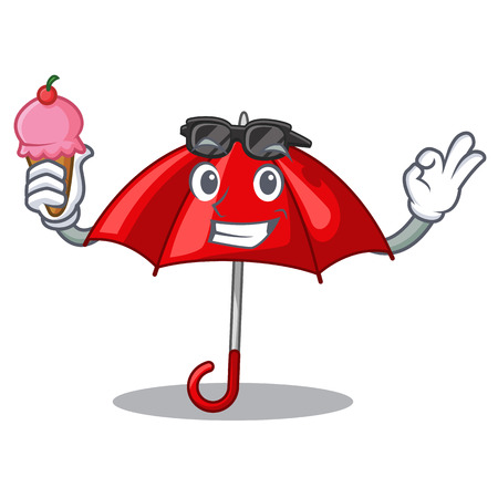 With ice cream red umbrellas isolated in a mascot vector illustration