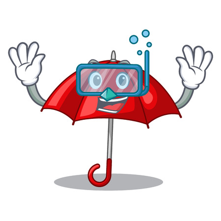 Diving red umbrellas isolated in a mascot vector illustration