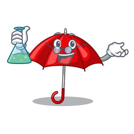 Professor red umbrellas isolated in a mascot vector illustration