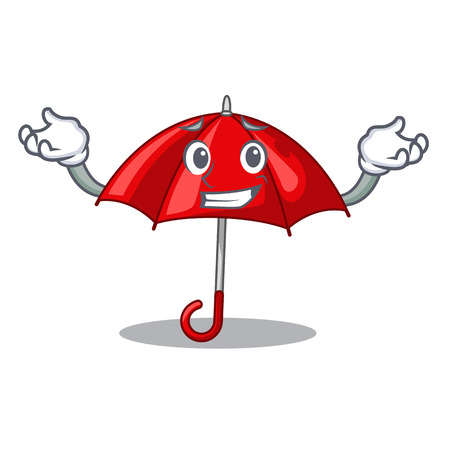 Grinning red umbrellas isolated in a mascot
