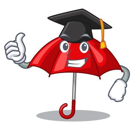 Graduation red umbrellas isolated in a mascot