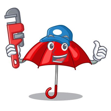 Plumber red umbrella in shape cartoon funny vector illustration