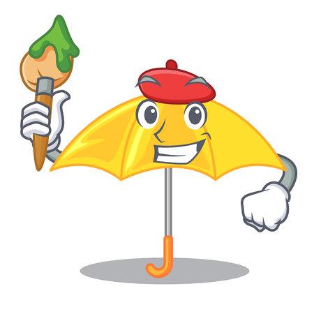 Artist yellow umbrella isolated on a mascot vector illustration