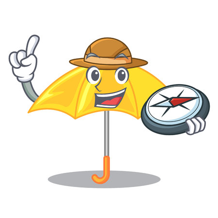Explorer beautiful open umbrella on yellow character vector illustration  イラスト・ベクター素材