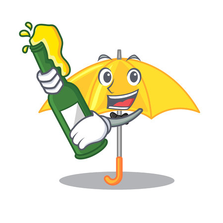 With beer classic yellow umbrella in shape cartoon vector illustartion