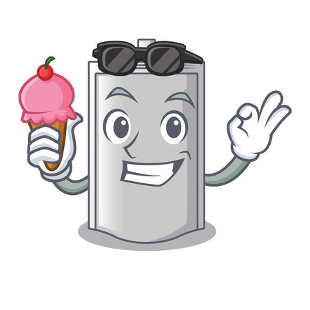 With ice cream bag packaging snack on a mascot vector illustration