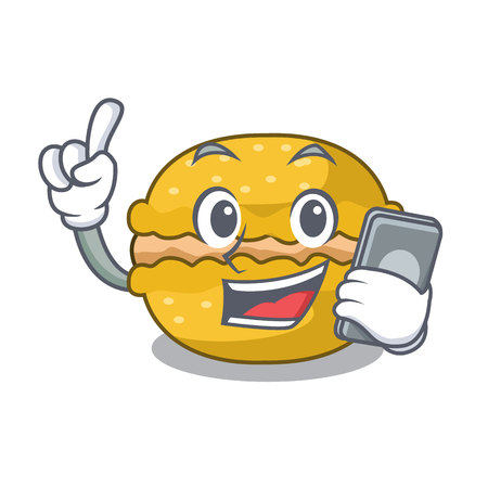 With phone banana macarons isolated on a mascot vector illustration