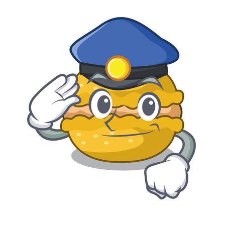 Police banana macarons isolated on a mascot