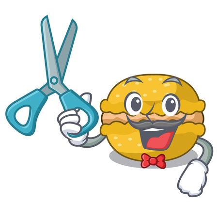 Barber banana macarons isolated on a mascot vector illustration