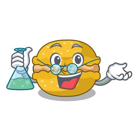 Professor banana macarons cake shape a cartoon vector illustration  イラスト・ベクター素材