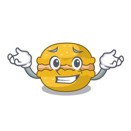 Grinning banana macarons cake shape a cartoon vector illustration