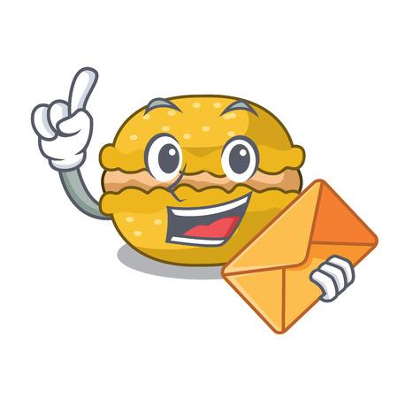With envelope banana macarons cake shape a cartoon vector illustration Vector Illustration