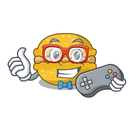 Gamer macarons banana on in character funny vector illustration