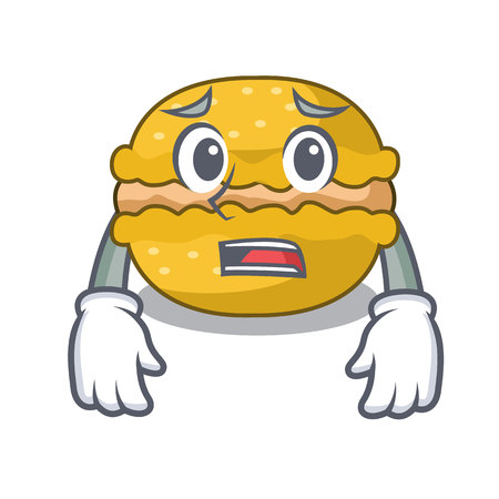 Afraid macarons banana on in character funny vector illustration