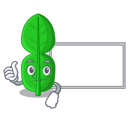 Thumbs up with board bergamot lime leaf isolated on mascot vector illustration 일러스트