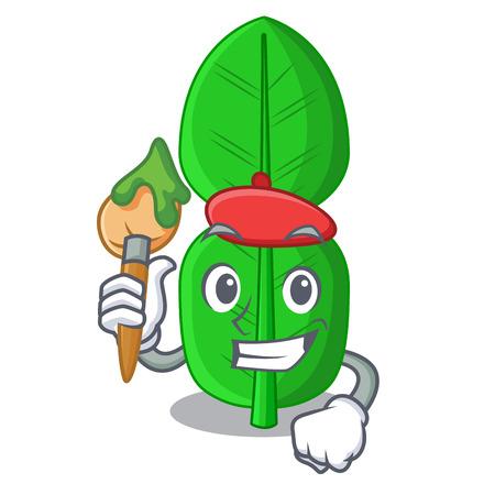 Artist bergamot lime leaf isolated on mascot vector illustration