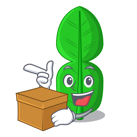 With box leaf bergamot in a shape cartoon vector illustration Vectores
