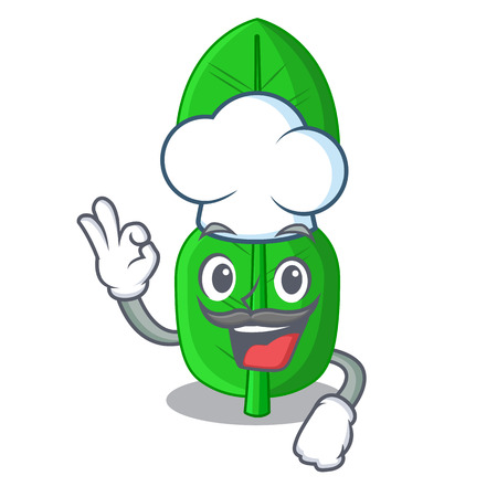 Chef leaf bergamot in a shape cartoon vector illustration Ilustração