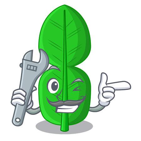 Mechanic bergamot leaf in cartoon a interrupting vector illustration