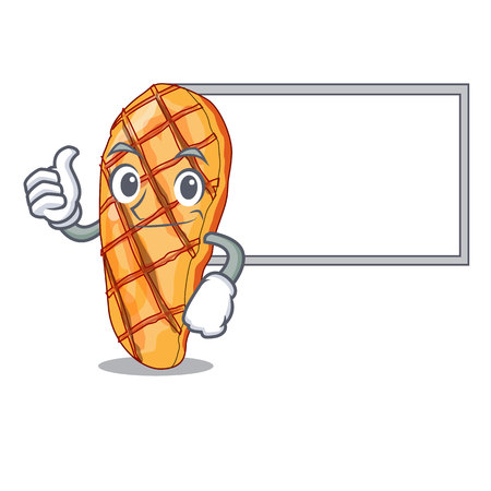 Thumbs up with board grilled chicken fillets on cartoon plate vector illustartion Иллюстрация