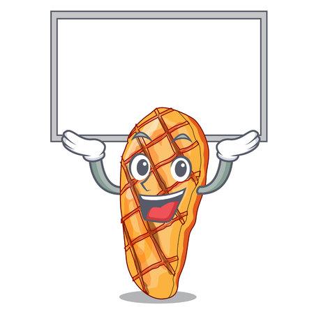 Up board grilled chicken fillets on cartoon plate vector illustartion Иллюстрация