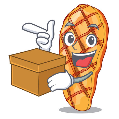 With box grilled chicken served with character garnish vector illustrationh