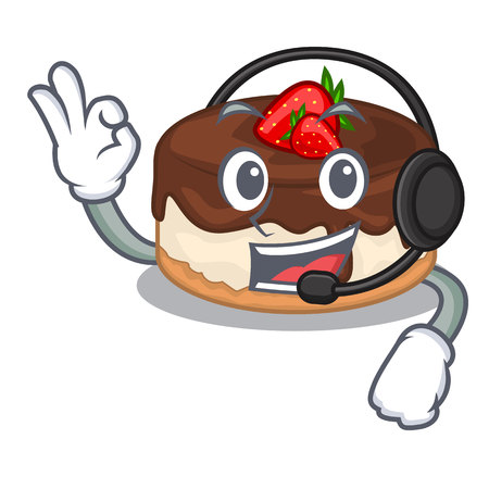 With headphone cake berries with cream on mascot vector illustration