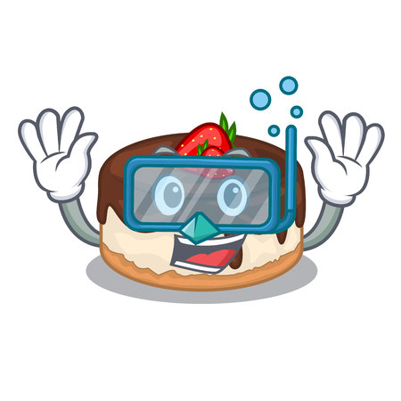 Diving cake berries in character that fresh vector illustration Ilustração