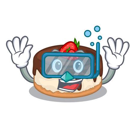 Diving cake berries in character that fresh vector illustration Illustration