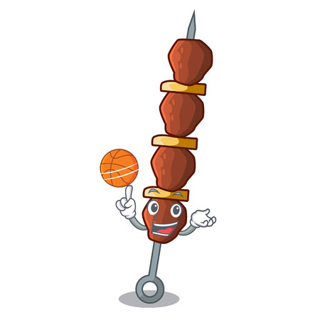 With basketball chickin shish with sticks a cartoon illustration