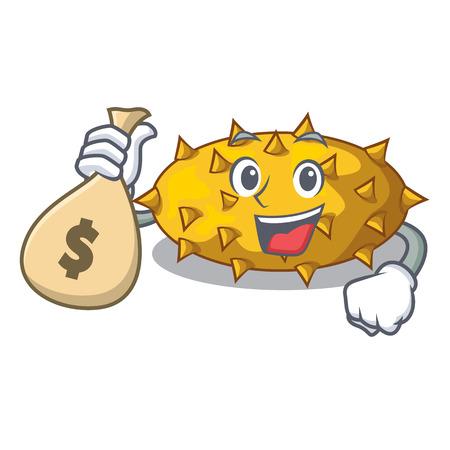 With money bag kiwano fruits on the cartoon table vector illustration